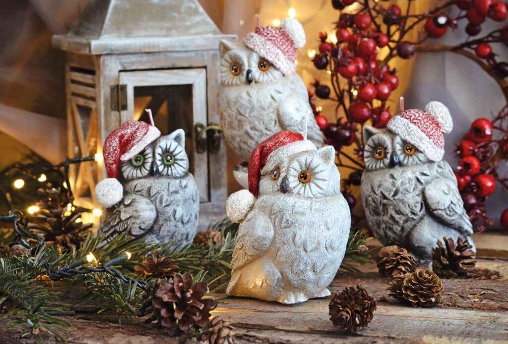 Dekoracyjne sowy na Boże Narodzenie