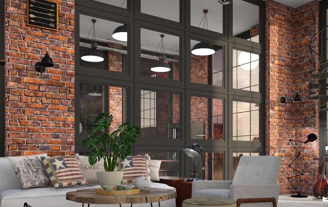 Szklana ściana to jeden z typowych elementów stylu loft