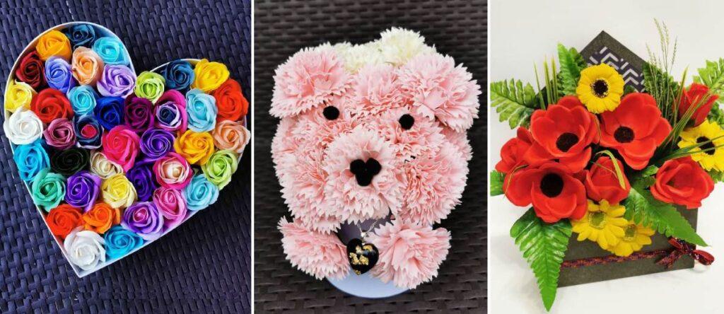 Oryginalne dekoracje z kwiatów mydlanych